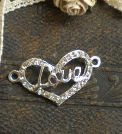 Schitterende  tussenzetsel hart  met strass 30x16x2mm zilver love ♥