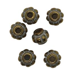 10 x goud/zilver metallook kraal 9 x 10mm gat: 3mm