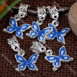 Prachtige Tibetaans zilveren European Jewelry bedel vlinder met emaille 16x13x1 mm
