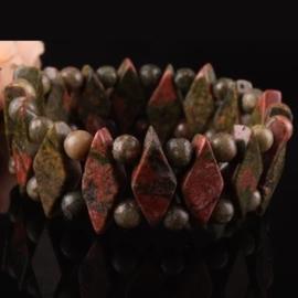 Armband gemaakt van echte edelsteen Unakite Epidote