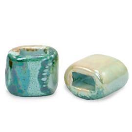1 x C.U.S sieraden schuiver DQ Grieks keramiek 11x12mm Aqua haze green-almond