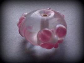 10 x glaskraal India rondel transparant met opliggende bloemmotief 20 x 12 mm
