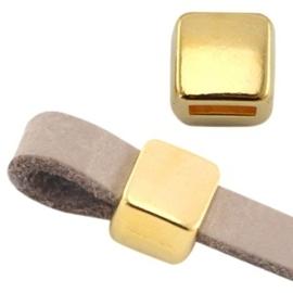 DQ metaal schuiver vierkant Ø5.2x4.2mm  goud (nikkelvrij)