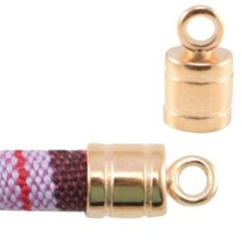 1x DQ metaal eindkapje met oog voor 6 mm koord Rosé goud 14x12 mm Ø 6.0 mm