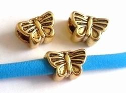 Per stuk European Jewelry bedel kraal bijtje Vlinder goud metaal 12 mm