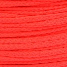 1 meter sieradenkoord c.a. 5 x 3mm kleur Poppy Red Neon