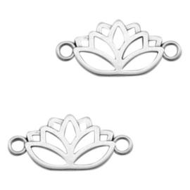 1 x Bedel DQ metaal tussenstuk lotus Antiek zilver (nikkelvrij)