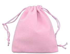 3 stuks prachtige cadeauzakjes van velours c.a. 7 x 9cm roze