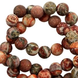 10 stuks 6 mm natuursteen kralen leopard stone mat Multicolour earth brown  (Ø1.6mm)