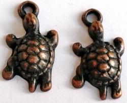 6 x Antiek koperen bedel schildpad 20 mm