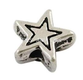 20 stuks Tibetaans zilveren ster kralen  6 x 6 x 3mm, Gat: 1,5mm