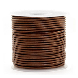 50cm DQ Leer rond 1 mm Pecan brown metallic