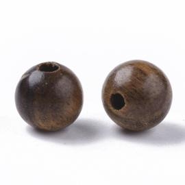 20 x  houten kralen 6mm rond naturel waxed coconut brown gat: 1,4mm