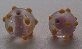 5 x glaskraal India rond transparant lila met opliggende oranje pukkels 16 mm