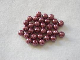 30 x prachtige glasparel 8mm Gat: 1mm kleur:   donker oud roze