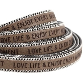 20 cm  Quote imileer 10mm met schakelketting zilver Love life Taupe grijs