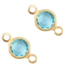 2 x Bedels DQ metaal tussenstuk crystal glas rond 6mm Gold-Baltic blue crystal
