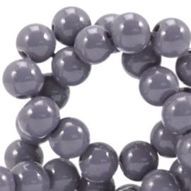 30 stuks 4mm glaskralen opaque Donker mauve grijs gat: 1mm