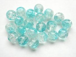 30 x Crackle kraal  8mm Gat: 1,5mm blauw