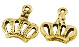 10 stuks Tibetaans zilveren kroontje 12 x 14 x 2.5mm, gat 1mm goudkleur