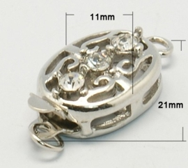 Prachtig mooie verzilverde haaksluiting boxsluiting met strass 21 x 11 x 6mm Gat: 2,5mm