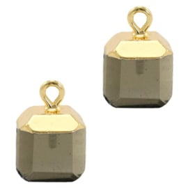 1 x Natuursteen hangers square Black diamond-gold Rook kwarts