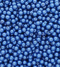 30 stuks glasparels 8mm gat c.a. 1mm kleur Donker Blauw