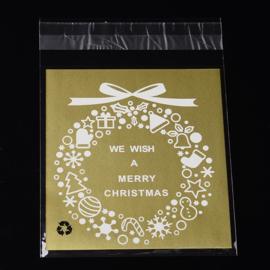 c.a. 95~100 cellofaan zakjes kerst goud kerstkrans 10 x 14cm