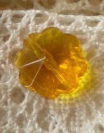 Prachtige facetkraal bloem 12 x 6,5 cm amber