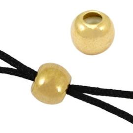 1 x  DQ kraal macramé slot 5mm Goud (nikkelvrij) (Ø2mm)