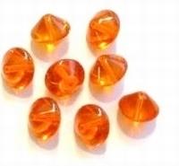 10 Stuks Glaskraal gebogen schijf transparant Oranje 10 mm