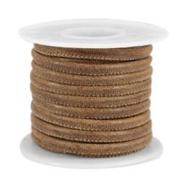 Rol met 5 meter gestikt leer imi 4x3 mm Nut tone brown (kies voor pakketpost)