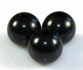 10 Stuks acrylkralen zwart 15,5 mm, gat 2 mm