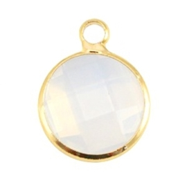Crystal glas hanger rond 12mm Crystal white opal-Gold