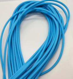 100 cm hol Rubber DQ koord 3mm per meter geknipt hemels blauw