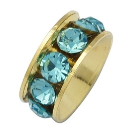 Schitterende Gold Plated  European Jewelry kraal met bergkristal erg mooi!! Blauw 11 x 4,3mm, gat: 5mm