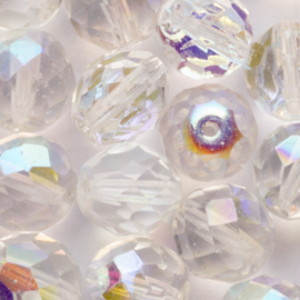 10 x ronde Tsjechië kraal kristal facet 10mm kleur: transparant gat: 1mm