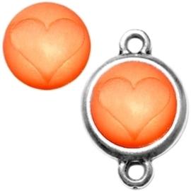 3 x Polaris cabochon hart matt 15 mm Hyacinth oranje zonder houder