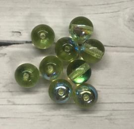 20 stuks ronde groene glaskralen 6mm gat 1mm
