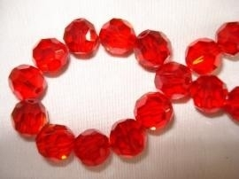 1 x facet glaskraal 12mm rood