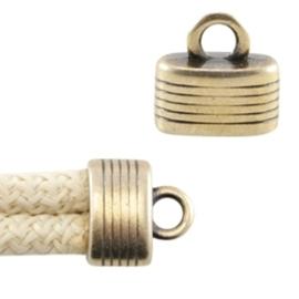 1 x  DQ metaal eindkapje met oog voor (2x)  5 mm (Dreamz)koord geel koper ca. 15 x 13 mm(Ø 10 x 4 mm)