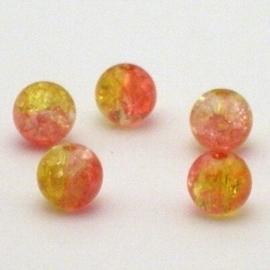 30 stuks crackle glas kralen 8mm oranje geel