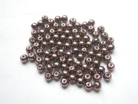 80 x prachtige glasparels 6mmGat: 1mm kleur:  mokka bruin