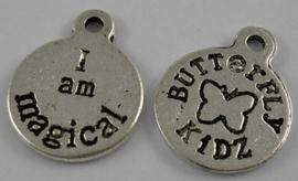 10x Tibetaans zilveren bedeltje butterfly kidz - I am magical ik ben bijzonder of betoverd 19 x 15 x 1mm Gat: 2mm