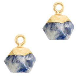 1 x Natuursteen hangers hexagon Blue white-gold Blue Stone