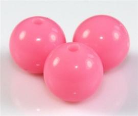 10 Stuks Acrylkralen diep rosé 18 mm, gat 2 mm