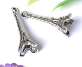 4 x Tibetaans zilveren bedel van de Eiffeltoren, kleur 24 x 8 x 7mm gat: 1,5mm