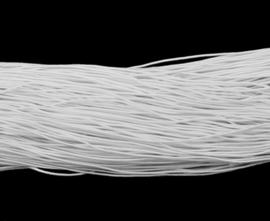 8 meter rond elastisch koord van rubber voorzien van een laagje stof 1mm wit