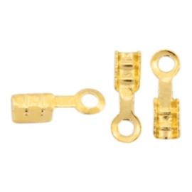 10 x Onderdelen DQ metaal veterklem 1mm Goud (nikkelvrij)
