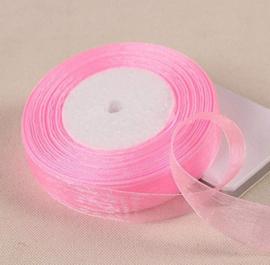 2meter organza lint pink ribbon transparant 20 mm